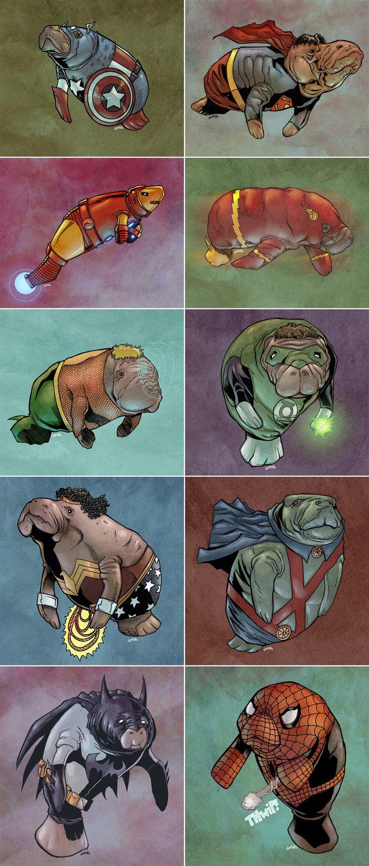 Superhero manatees