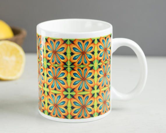 Bright cheerful mug mug for gardener multicolour by DoodlePippin
