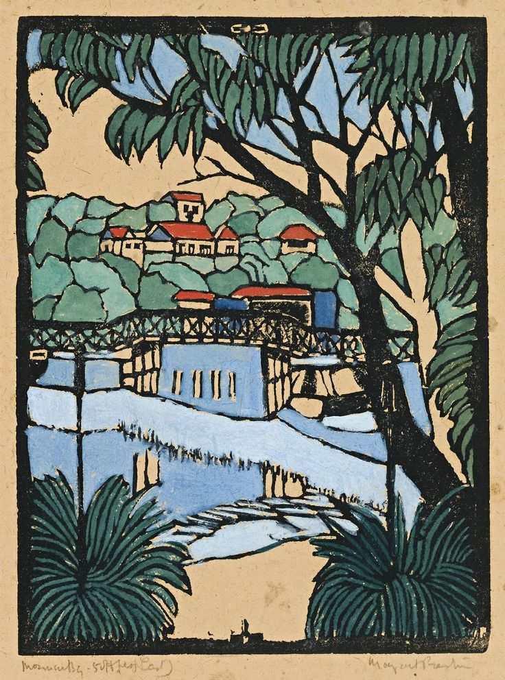 Margaret Preston (1875 - 1963), Mosman Bridge - ( c1927)  http://jes68.tumblr.com/post/99118981355/margaret-preston-1875-1963-mosman-bridge
