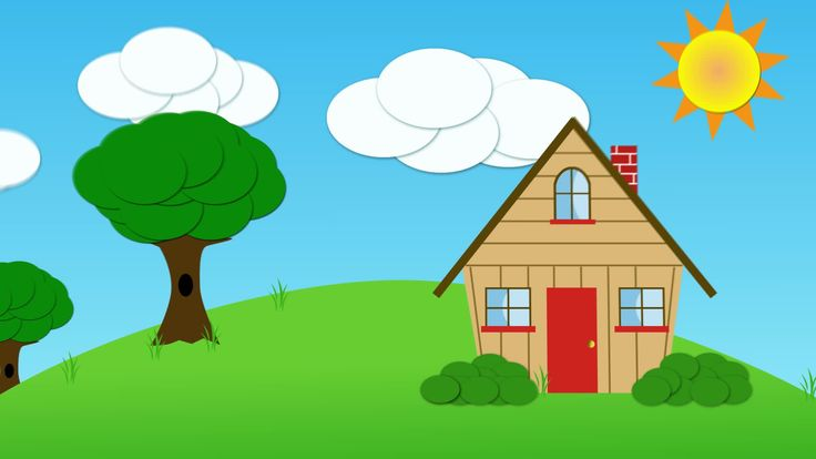 Animated house and clouds and sun - Stock Footage | by neederman