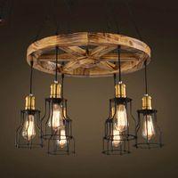 Klasická americká country Průmyslové 6Lights / 8Lights klasické dřevo Přívěsek světlo lampy pro přijímací pokoj Jídelna Doprava zdarma