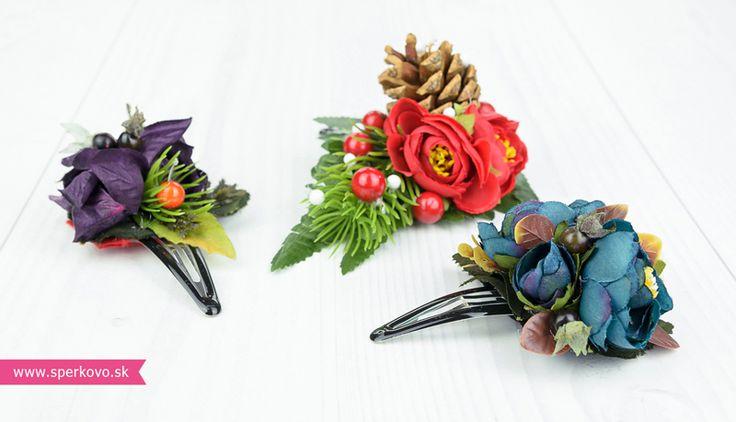Kreatívny kurz Sponky a brošne z kvetov. Kvetinové doplnky do vlasov sú aktuálne počas celého roka. Milé malé jabĺčka, hrušky, šípky, lístie ale aj huby...