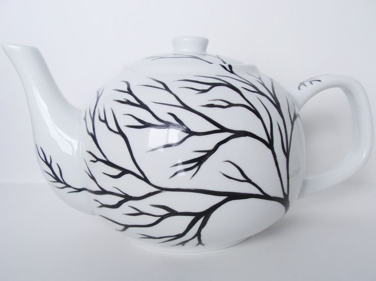 Tree Branches Teapot Hand Painted by CANADIANCREATIONZ on Etsy