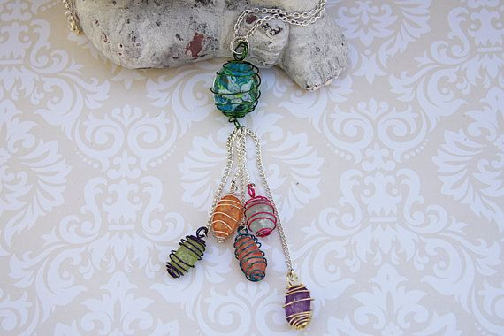 Beaded Tassel Necklace, Rainbow Beaded Wire Necklace, Lampwork and Cracked Glass Bead Necklace, Multi-Colored Tassel Necklace
