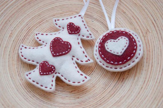 Christmas red and white ornaments - set of a felt Christmas tree and a round ornament. $12.50, via Etsy.