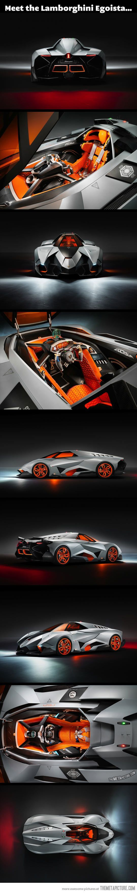 Forget the Batmobile, I want the Lamborghini Egoista... Looks like the cockpit of a future jet fighter, ill take it in matte black