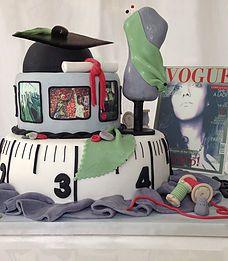 The Cake Lab Ranelagh, Dublin, Ireland, Artisan Baking Studio. Bespoke Wedding Cakes.  Graduation Cake.  Fashion Graduate Cake.  Edible photograph images.  Edible mannequin.  Edible vogue magazine cover.  Edible spools of thread.  Edible buttons. Edible Graduation cap.