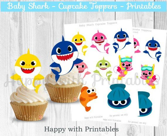 Baby Shark Cupcake Toppers Shark Treat Toppers Baby Shark Party Printables Shark Toppers Baby Shark Printables Baby Shark Party In 2020 Baby Shark Shark Cupcakes Shark Party