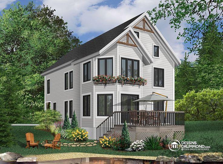 Cottage de 4 à 5 chambres, style Cape Cod, fenestration abondant (# 2949)  http://www.dessinsdrummond.com/detail-plan-de-maison/info/meunier-cape-cod-1000319.html
