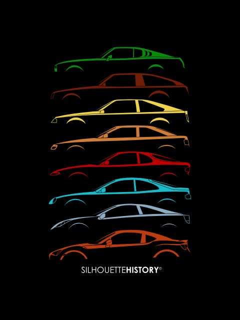 Japanese Coupe SilhouetteHistorySilhouettes of Toyota Celica generations: RA25, RA42, RA61, ST162, ST185, ST204, ZZT230 + GT 86