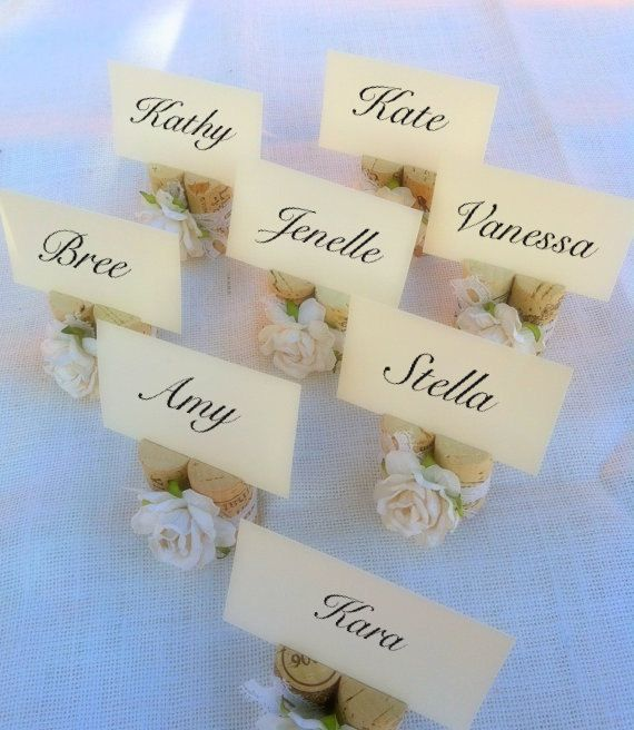 Vintage Ivory Lace Wedding Place Card Holders, Set of Ten, Recycled Wine Corks for Rustic, Shabby Chic, Vineyard Wedding, Winery Wedding on Etsy, $30.00