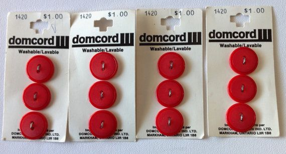 """4 sets of domcord Red Coloured Button Sets,  3/4"""" each, total of 12 buttons"""