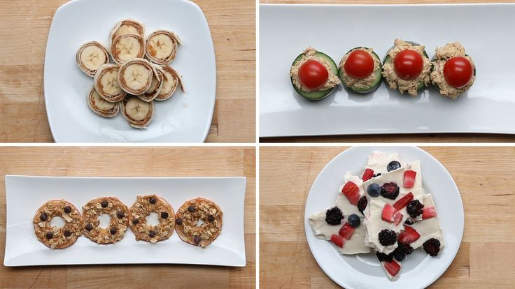 After-School Snack Ideas For The Week - REALLY LIKE Peanut Butter Apple Slices and Berry yoghurt bark
