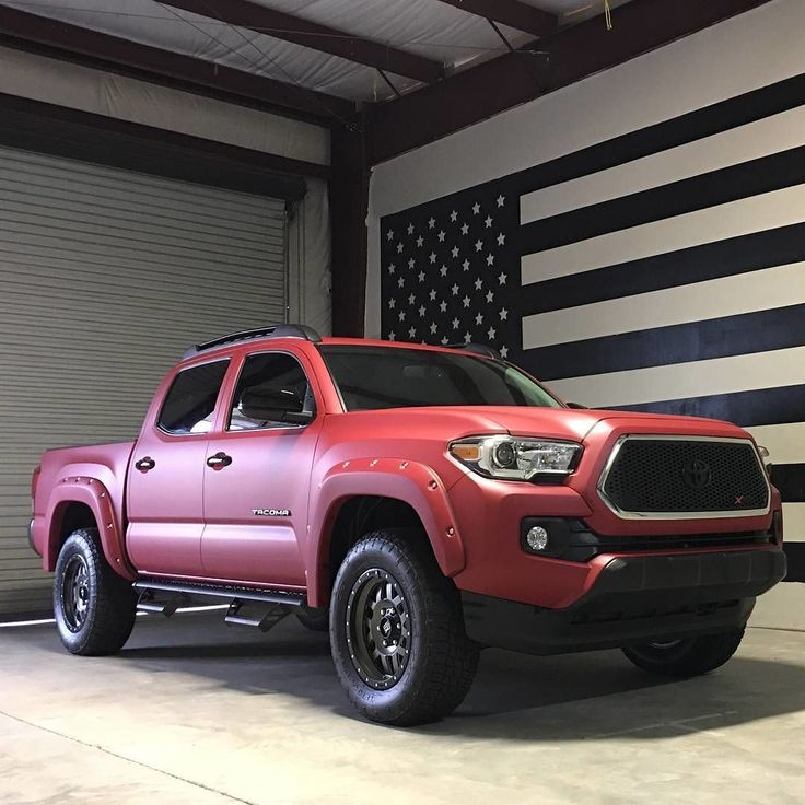 Awesome 2016 #Toyota Tacoma xsp wrapped in Avery garnet red matte metallic. Great work by @cloak_designs (Alabama USA) #MakeitStick #PaintisDead