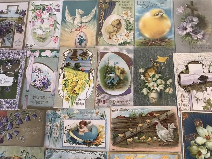 NICE LOT OF 25 VINTAGE  EASTER HOLIDAY POSTCARDS-CHICKS,BUNNY,ANGELS,1900's-p220 #Easter