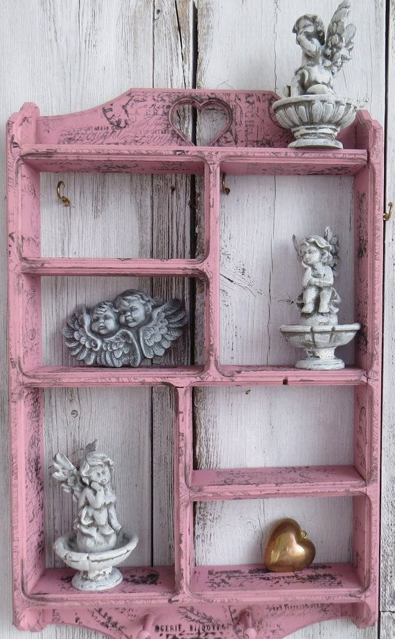 Pink wall shelf wood shelves shelf with pegs key by ChippedPaints