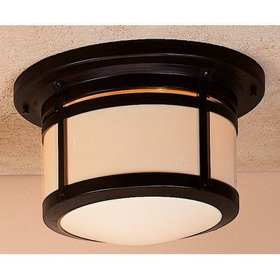 "Arroyo Craftsman Berkeley 2 Light Outdoor Flush Mount Shade Color: Cream, Size: 7.63"" H x 12"" W"