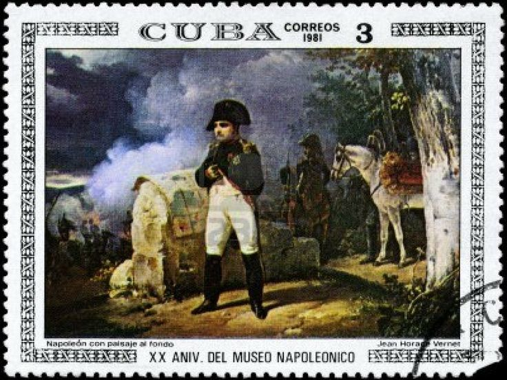 CUBA - CIRCA 1981: A Stamp printed in CUBA shows the Napoleon with Landscape in the Background, by Jean Horace Vernet, from the series Paint...