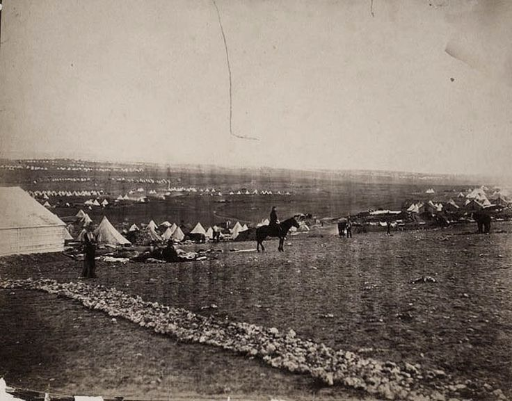 View of the British camp with the Turkish camp in the distance on the plateau before Sebastopol.