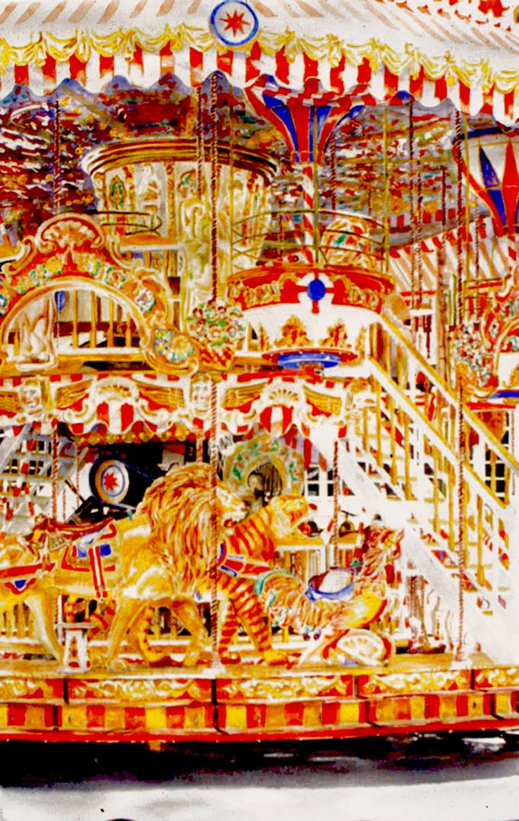 "chicken carousel arles   40"" x 26"" micheal zarowsky / watercolour on arches paper / (private collection)"