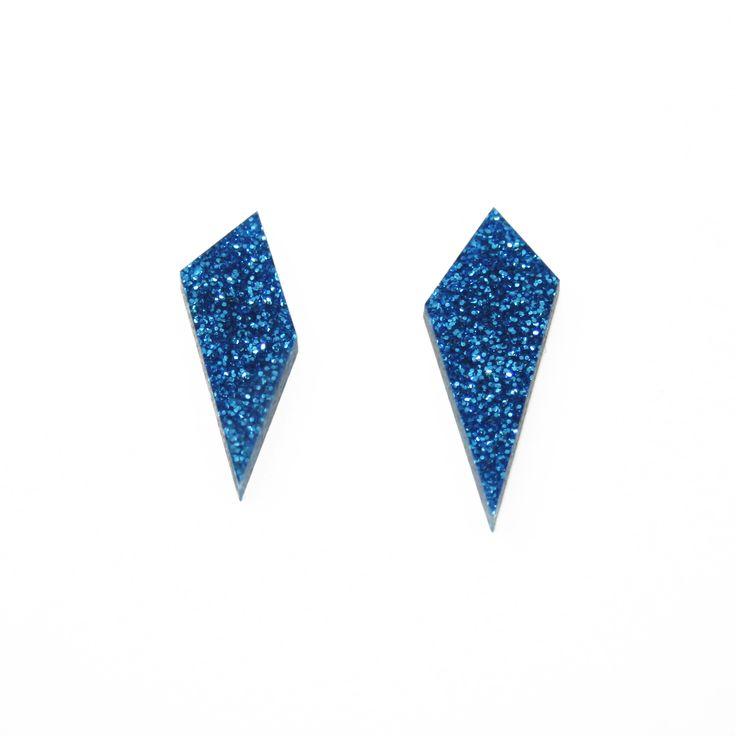 Shard Earrings in Electric Blue Glitter. By Wolf & Moon