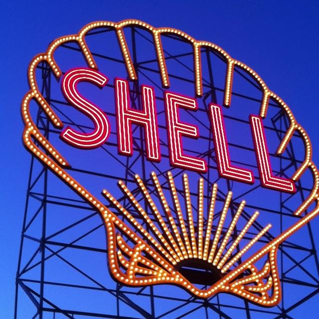 Shell Gas neon sign, Cambridge, Massachusetts.