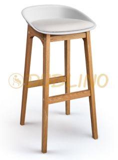 DL CONCORD WHITE OAK - Tölgyfa lábas, fehér műanyag design bárszék