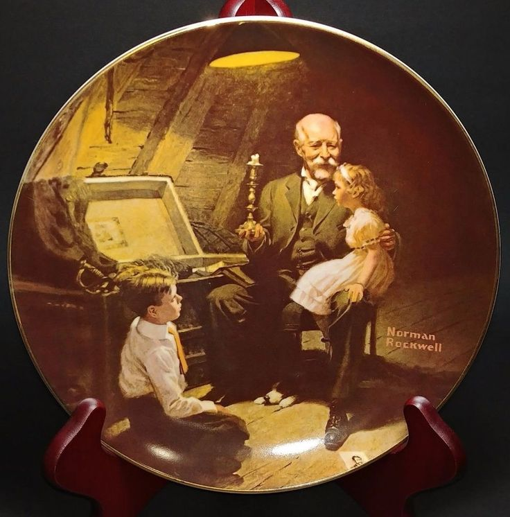 Grandpa's Treasure Chest Norman Rockwell Light Campaign Series Decorative Plate