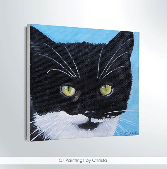 MINIATURE Cat painting Oil painting by OilpaintingsChrista on Etsy