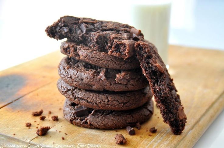 chewy double chocolate chip cookies / najlepsze ciasteczka podwójnie czekoladowe