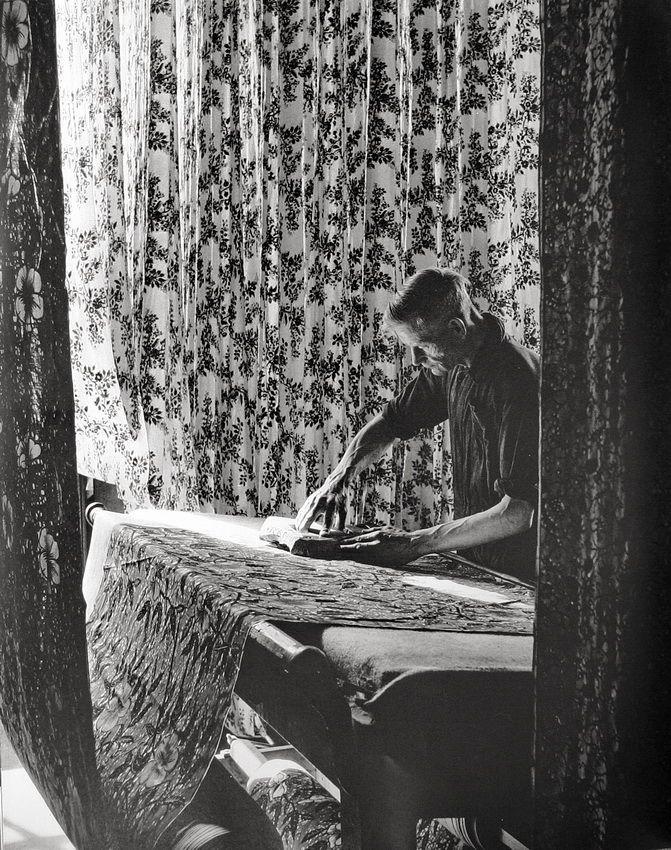 Hand-printing cotton. 1950s