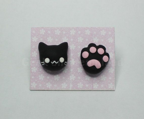 Chat patte boucles d'oreilles clous kawaii