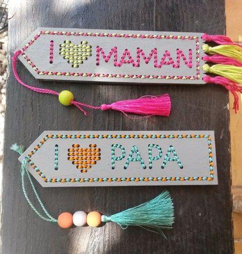 Tuto DIY pour broder un marque-page en bois pour la fête des mères et la fête des pères par So gothish !