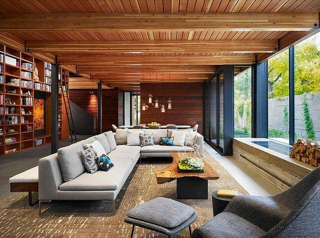 Modern ipari hangulatú nappali minimál elemekkel