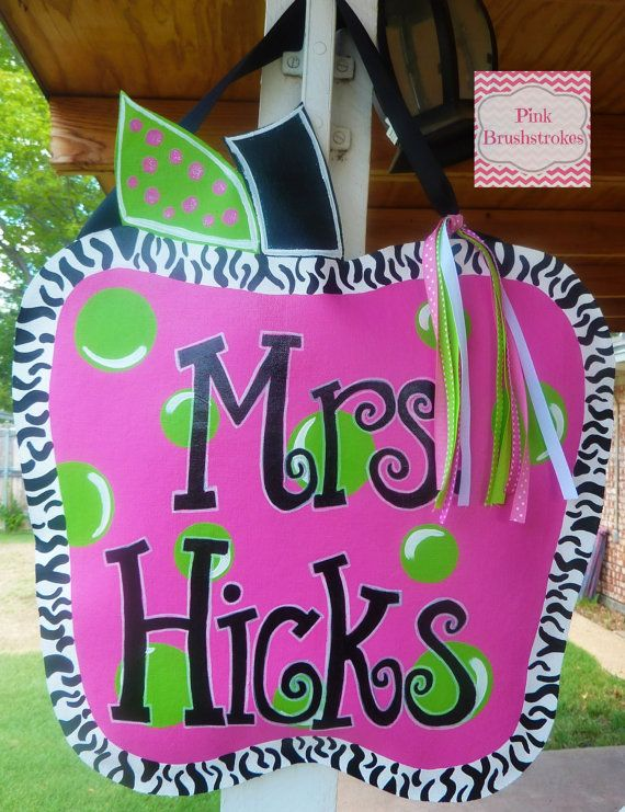 "Hand Painted ""Apple a Day"" Canvas Teacher Door Hanger by Pink Brushstrokes on Etsy $35"