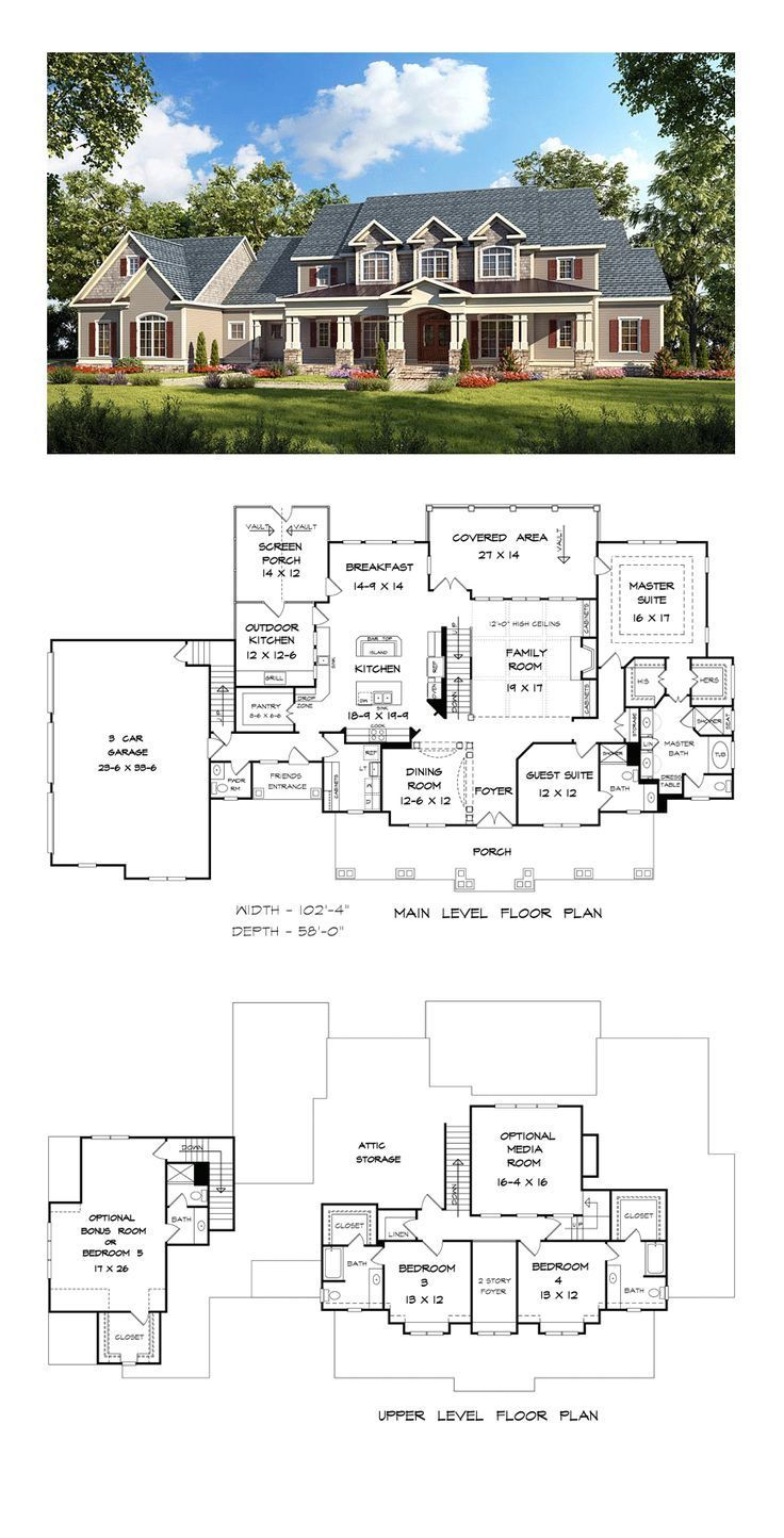 Country Style House Plan Number 58272 with 4 Bed, 5 Bath, 3 Car Garage