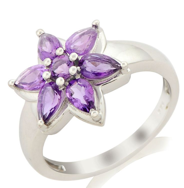 AMETHYST 1.18 CT. NATURAL GEMSTONE RING IN 10 KT SOLID WHITE GOLD #R0527