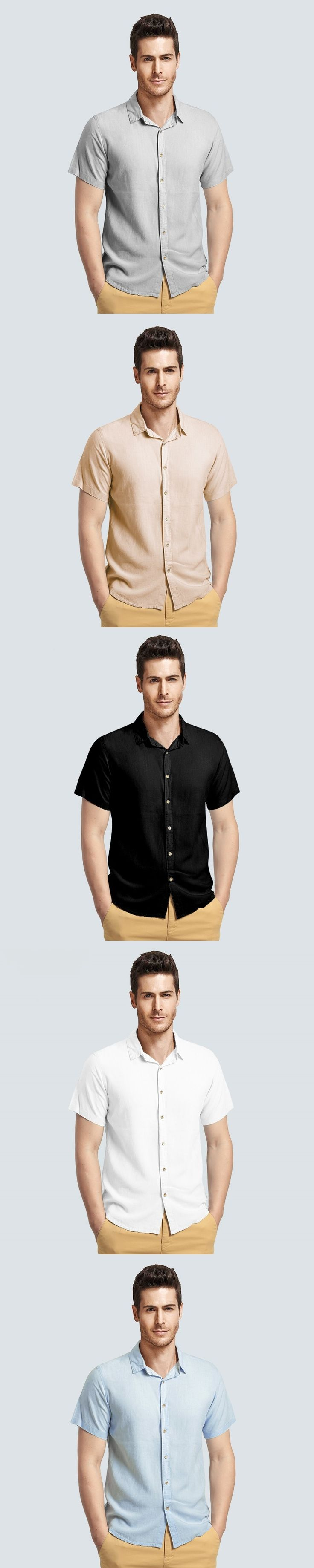 Men's Linen Shirt Mens cotton casual shirt slim