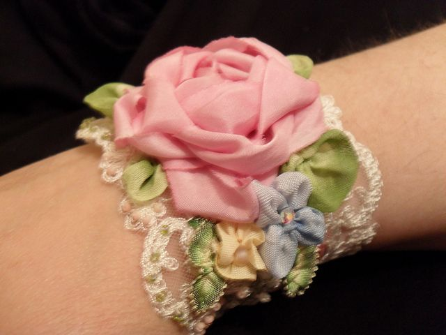 hand dyed silk ribbon flower cuff by lambsandivydesigns.com, via Flickr