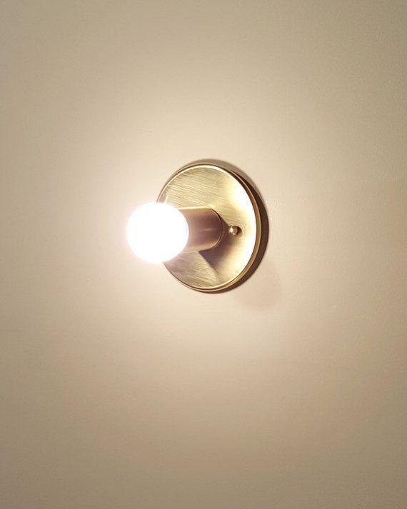 Trek Flat Modern Minimal Brass Flushmount Wall Sconce Ceiling