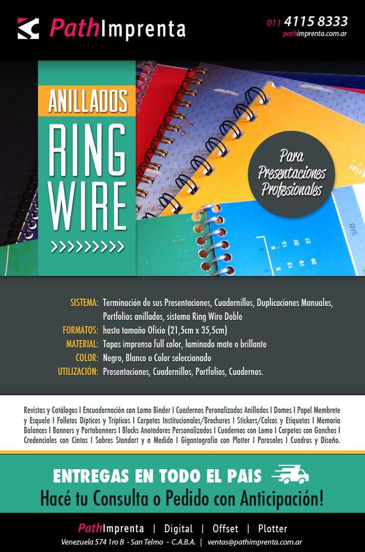 - #Anillados Ring-Wire & Anillados - Luego de imprimir sus #presentaciones, #cuadernillos, #duplicaciones, #manuales, #portfolios, anillamos en sistema Ring Wire de alambre negro, blanco o colores seleccionados, dándole una terminación especial.    #RingWire   #Encuadernación   #Oficina   #Print   #Imprenta   #Buenos Aires  