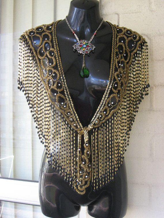 15%OFF..Vintage Stunning Black Net Gold Beaded Sequin Rhinestone  Fringe Art Deco Flapper Gatsby Large Cape Capelet Shrug Wrap Collar