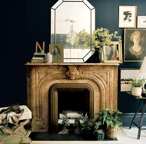 color palette // mantle bohemian chic yet symmetric // a few plants & mirror