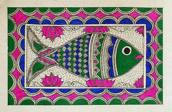 Festive fish - design for my handmade greetingcards..