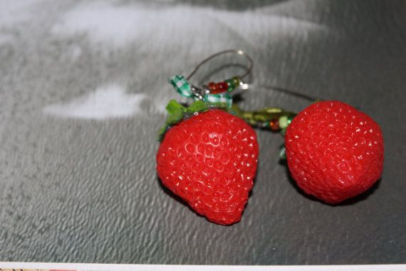 Statement Earrings/Big strawberry earrings/Dangle by Ninodesigns