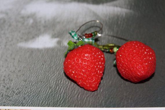 Statement Earrings/Big strawberry earrings/Dangle by Ninodesigns