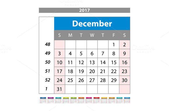 december Calendar 2017 vector. by Rommeo79 on @creativemarket