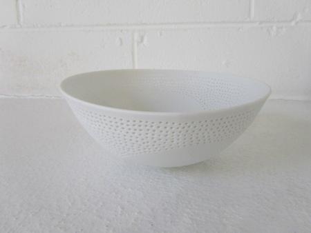 Megan Puls     Pierced + etched dish     Porcelain     18 x 7 cm