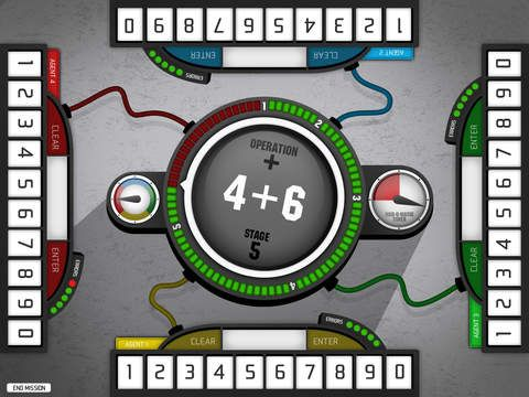 Operation Math Code Squad - With four virtual keypads, Operation Math Code Squad lets multiple players work together to solve equations and disarm Dr. Odd's devious devices in a race against the clock.