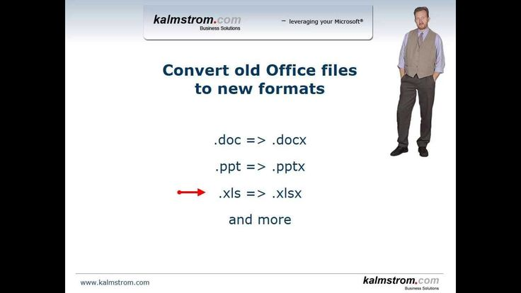 *Convert Old Office Files Into New Formats With PowerShell Script* Space saving and better security are only two of the benefits of saving Office files in the old formats - like .doc - into the modern formats that end with an x - like.docx. Peter Kalmstrom shows a PowerShell script that makes the process easy. For step by step, refer to http://www.kalmstrom.com/Tips/ConvertOldFilesIntoNew.htm